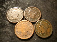 1844 1845 1849 1851 LARGE CENTS DECENT LOOKING COINS  SLOSS