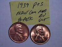 WHEAT PENNY LOT 1939 P,1939 S NICE RED BU SET 1939,1939S RED UNC LINCOLN CENTS 2