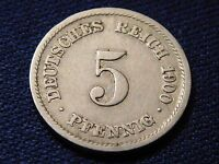 5 PFENNIG 1900 F. GERMAN EMPIRE COIN. KM11. GERMANY. FINE. H1196