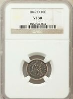 1849 O SEATED DIME VF30 NGC .. 300,000 MINTED