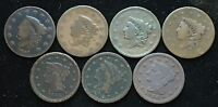 NICE LOT OF 6  LARGE EARLY US COPPER CENTS 1831 1833 1837X2 1845 1846 1848