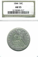 1844 SEATED LIBERTY HALF DOLLAR : NGC AU55