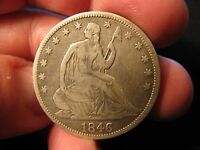1846 TALL DATE SEATED HALF DOLLAR V.G.