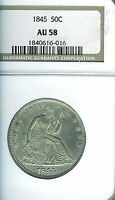 1845 SEATED LIBERTY HALF DOLLAR : NGC AU58