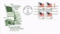 DR JIM STAMPS US FORT MCHENRY AMERICAN FLAG AMERICANA FDC COVER PLATE BLOCK