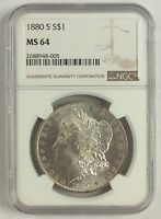 1880 S SAN FRANCISCO MORGAN SILVER DOLLAR $1 NGC MS 64