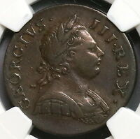 1771 NGC VF 25 GEORGE III 1/2 PENNY GREAT BRITAIN COIN 16112404C