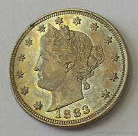 TONED 1883 LIBERTY HEAD V NICKEL NO CENTS ABOUT UNCIRCULATED
