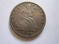 1856 S SEATED LIBERTY HALF DOLLAR KEY DATE AU,TONED LOW MINTAGE  50 CENT