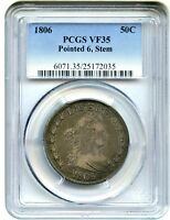 1806 50C PCGS VF35 POINTED 6, STEMS GREAT TYPE COIN - BUST HALF DOLLAR