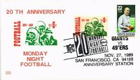 DR JIM STAMPS US MONDAY NIGHT FOOTBALL FDC GLEN CACHET COVER 1989