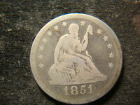 1851 O VG F SEATED LIBERTY QUARTER FULL DEVICES RIMS LV