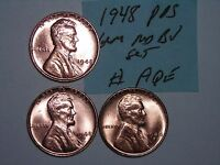 WHEAT PENNY 1948P,1948 D,1948 S RED BU SET 1948,1948D,1948S LOT UNC LINCOLN CENT
