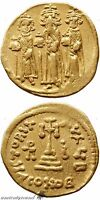 BYZANTINE GOLD SOLIDUS COIN HERACLIUS CONSTANTINOPLE 639 641 AD