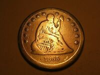 1865 S SEATED LIBERTY QUARTER  & ATTRACTIVE