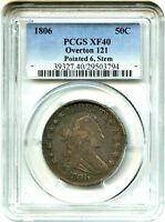 1806 50C PCGS EXTRA FINE 40 OVERTON 121, POINTED 6, STEMS GREAT TYPE COIN
