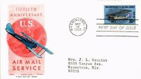 DR JIM STAMPS US AIR MAIL SERVICE FIFTY YEARS FDC CACHET CRAFT COVER 1968