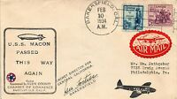 DR JIM STAMPS US USS MACON PASSED THIS WAY AGAIN 1934 COVER