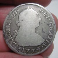 1774 F.M MEXICO 2 REALES SILVER   VERY