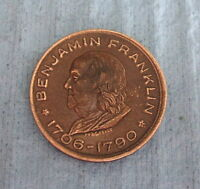 ANTIQUE BRASS TOKEN BEN FRANKLIN: COMMEMORATIVE 1706 1790; 3/4