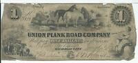 INDIANA UNION PLANK ROAD CO. $1 W500_1 1860 ISSUED TY 7 18023 HORSES DRINK