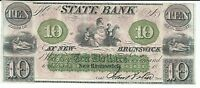 NEW JERSEY NEW BRUNSWICK STATE BANK $10 1844 ONE SIGNATURE G62A WAIT 1708