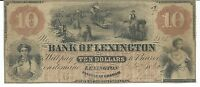NORTH CAROLINA BANK OF LEXINGTON $10 1860 SIGNED ISSUED 3113 WHEAT FIELD