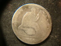 1864 DATED SEATED LIBERTY HALF DOLLAR JLY
