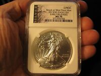 2013 W SILVER EAGLE DOLLAR NGC MS 70   EARLY RELEASES
