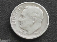 1949 S ROOSEVELT DIME 90 SILVER U.S. COIN D4245