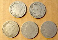 LOT OF 5 LIBERTY HEAD NICKEL COINS 1895 1899 1907 2 1912
