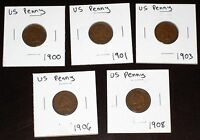 LOT OF 5 CIRCULATED INDIAN HEAD COPPER PENNIES   1900 1901 1903 1906 1908