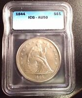 1844 SEATED LIBERTY SILVER DOLLAR NICE ICG CERTIFIED AU50 NICE NO PROBLEM COIN