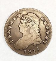 1814 CAPPED BUST/LETTERED EDGE HALF DOLLAR GOOD SILVER 50 CENTS