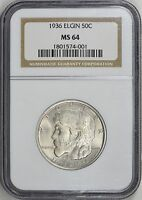 1936 ELGIN SILVER HALF DOLLAR COMMEMORATIVE MINT STATE 64 NGC