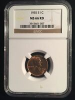 VERY HIGH GRADE 1955 S SAN FRAN LINCOLN WHEAT CENT NGC MS 66 RD PRICE PER COIN