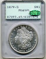 1879-S MORGAN DOLLAR PCGS MINT STATE 65 PL PROOFLIKE CAC RATTLER