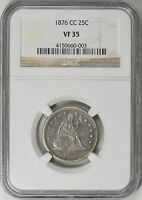 1876 CC LIBERTY SEATED QUARTER VF35 NGC  CENTENNIAL YEAR