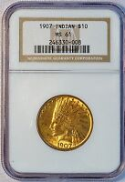 1907 $10 US INDIAN HEAD GOLD EAGLE COIN NGC MS 61 MS61 NO PERIODS NO MOTTO
