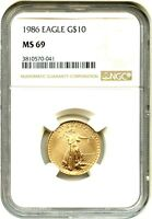1986 GOLD EAGLE $10 NGC MS69   AMERICAN GOLD EAGLE AGE