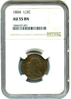 1804 1/2C NGC AU55 BN   EARLY HALF CENT TYPE COIN   HALF CENT