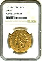 1873 S $20 NGC AU55 CLOSED 3 LIBERTY DOUBLE EAGLE   GOLD COIN