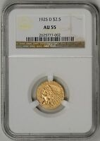 1925 D  $2.5 GOLD INDIAN NGC  CERTIFIED AU55    2625777 002