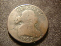 1803 FULL DATED DRAPED BUST HALF  CENT DECENT COIN JLY
