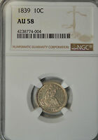 1839 SEATED DIME, NO DRAPERY, NGC AU58