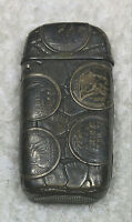 STERLING MATCHSAFE VESTA WITH SEATED LIBERTY DIMES -  COOL - FREE SHIP