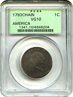 1793 CHAIN 1C PCGS VG 10 AMERICA OGH OLD GREEN LABEL HOLDER   LARGE CENT