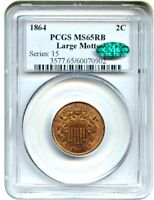 1864 2C PCGS/CAC MINT STATE 65 RB LARGE MOTTO GREAT TYPE COIN - 2-CENT PIECE