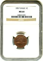 1857 FLYING EAGLE 1C NGC MINT STATE 64 - POPULAR FIRST YEAR TYPE COIN - FLYING EAGLE CENT