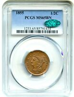 1855 1/2C PCGS/CAC MS65 BN   GORGEOUS GEM TYPE COIN   HALF CENT